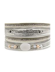 Fashion Women Multi Rows Stone  Rhinestone  Crystal    Leather Wrap Bracelet
