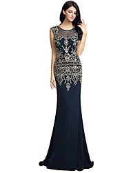 Formal Evening Dress Trumpet / Mermaid Jewel Sweep / Brush Train Jersey with Embroidery