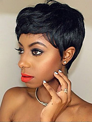 Diy-Wig Natural Textured Short Black Fluffy Human Hair Capless Wigs For Elegant Women