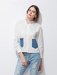Feminino Camisa Social Casual Simples Moda de Rua Primavera Verão,Retalhos Algodão Colarinho de Camisa Manga Longa Fina