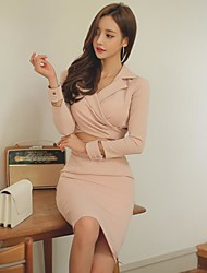 2016 autumn and winter new women's suit collar long-sleeved dress sexy hollow Slim package hip skirt long section