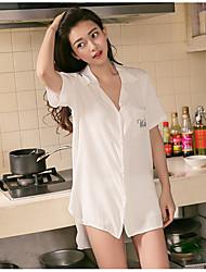 Women Chemises & Gowns Nightwear,Sports Solid-Medium Cotton White Women's