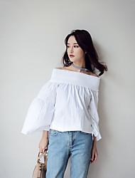 2017 Primavera nova cor sólida chiffon Estados Unidos não chegar de volta arco rendas colar feifei manga camisa feminina
