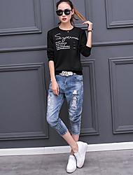 Damen Solide Einfach Ausgehen T-shirt,Rundhalsausschnitt Langarm Baumwolle Dünn