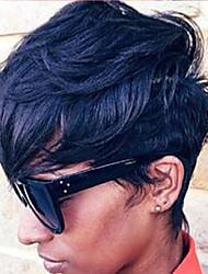Diy-Wig Natural Short Beautiful Black Fluffy Human Hair Capless Wigs For Elegant Women