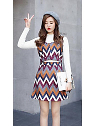 Women's Going out Casual/Daily Simple Spring Summer Hoodie Dress Suits,Solid Round Neck Long Sleeve Cotton Inelastic