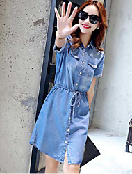 Sign summer new Slim was thin elastic waist short-sleeved Tencel denim skirt dress long section