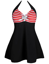 Women's Halter One-piece,Lace Up Plunging Neckline High Rise Polyester Spandex