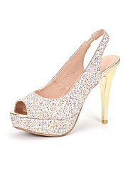 Women's Sandals Summer Gladiator Synthetic Wedding Office & Career Party & Evening Dress Casual Chunky Heel Sequin Buckle