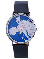 Women Fashion Watch Wrist watch Quartz Leather Band Charm Cool Casual World Map Pattern Unique Creative Black White Silver Gold
