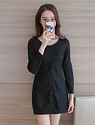 Mujer Línea A Vestido NocheJacquard Escote Redondo Midi Manga Larga Rayón Primavera Tiro Medio Microelástico Medio