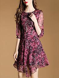 2017 spring new elegant sleeve print dress irregular gauze skirt
