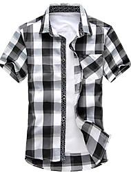 Men's Casual/Daily Simple Shirt,Check Shirt Collar Short Sleeve Rayon