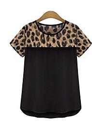 * Europa leopard Chiffon Kurzarm T-Shirt Frauen