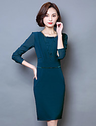 2107 spring new female long-sleeved beaded long section of elegant fashion temperament was thin dress