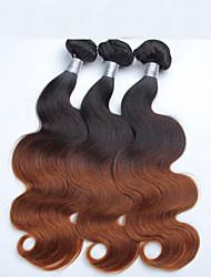 3шт / много 12-26inch перуанский девственные волосы 1b / 30 # Ombre объемная волна