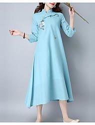 2017 nouveau printemps et robe cheongsam chinois peint à la main en coton été zen robe jupe