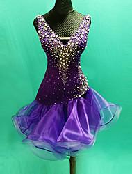 Danse latine Robes Femme Spectacle Elasthanne Dentelle Organza Dentelle Fantaisie 1 Pièce Sans manche Taille haute Robe