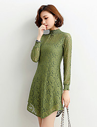 Women's Lace Spring Dress lace solid color long section of half-height collar long-sleeved dress