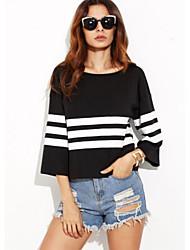 Damen Gestreift Retro Einfach Ausgehen Lässig/Alltäglich T-shirt,Rundhalsausschnitt Frühling Sommer ¾-Arm Baumwolle Undurchsichtig