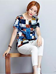Damen Solide Sexy Ausgehen T-shirt,V-Ausschnitt Kurzarm Seide