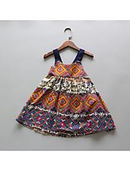 Girl's Beach Holiday Floral Dress,Cotton Summer Sleeveless