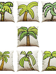 Set of 7 Tropical Plant Coconut Tree Pattern Linen  Cushion Cover Home Office Sofa Square  Pillow Case Decorative Cushion Covers Pillowcases As a Gift