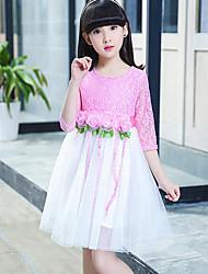 Vestido de impressão sólida da menina, meia manga de algodão poliéster verão primavera