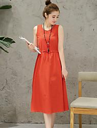 Cotton dress 2017 summer new Slim thin long paragraph sleeveless linen dress skirt Fan Art