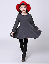 Girl's Casual/Daily Solid Dress,Cotton Summer Long Sleeve