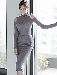 2016 Winter new Korean high-necked knit sexy leakage shoulder Slim package hip dress bottoming dress women