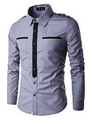 Men Fashion Casual Color Block False Tie Shirt Long Sleeve Shirt