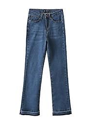 Feminino Simples Cintura Baixa Inelástico Jeans Chinos Calças,Solto Bootcut Sólido