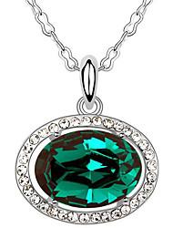 Femme Pendentif de collier Cristal Forme Ovale Circulaire Bijoux Pour