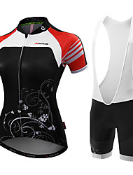 Cycling Jersey with Shorts Women's Short Sleeve Bike Jersey Bib TightsAnatomic Design Moisture Permeability High Breathability (>15,001g)