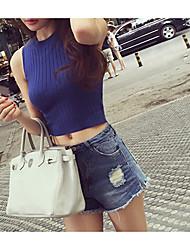 Verão nova coreano moda magro em torno do pescoço colete sem mangas estatura ultra-curto modelos multicolor selvagens
