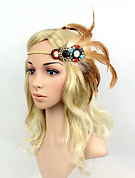 Women's Feather/Beads Elasticity Headpiece-Special Occasion/Party Flowers 1 Piece Headdress Hair Band Hair Accessories Brown