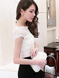 Sign Summer new blouses female perspective sexy lady lace hollow collar short sleeve shirt