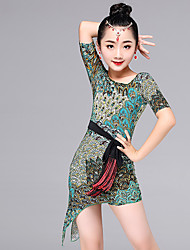 Latin Dance Dresses Kid's Performance Viscose Pattern/Print 2 Pieces Long Sleeve Dress Waist Belt