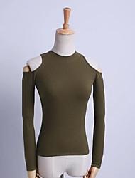 Tee-shirt Femme,Couleur Pleine Sortie simple Printemps Manches Longues Col Ras du Cou Coton Moyen