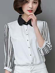 Really making new 2017 spring new women's striped chiffon shirt shirt female Sleeve