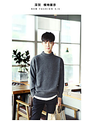 Men's Casual/Daily Simple Regular Cardigan,Solid Round Neck Long Sleeve Wool All Seasons Medium Inelastic