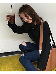 знак # домашней ретро классической простоты вокруг шеи футболку корейского хеджирования биты рукав рыхлой тонкой сплошного цвета футболки
