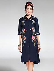 PROVERB Women's Casual/Daily Simple Summer Fall CoatFloral Shirt Collar  Length Sleeve Regular Silk