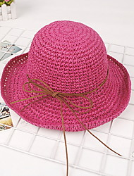 Lady Sunshade Handmader Leather Straw Sun Hat Outdoor BeachUv Lady Wide Large Brim Floppy Sunscreen Foldable Cap