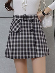 Women's High Rise Going out Mini Skirts A Line Check Summer
