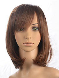 Light Brown Short Bob Wig Women Party Wig Curly Wavy Synthetic Fiber Wig Cosplay Costume Wig