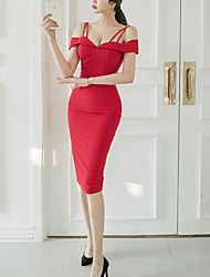 Women's Off The Shoulder Party Club Sexy Street chic Bodycon Dress,Solid Strap Knee-length Sleeveless Polyester Spandex Summer High Rise