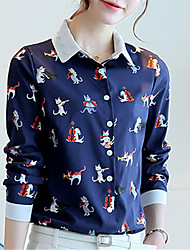 Women's Going out Casual/Daily Street chic Spring Shirt,Print Shirt Collar Long Sleeve Polyester Medium