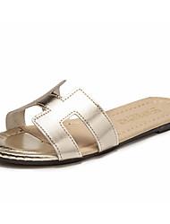 Damen Sandalen Mary Jane Kunstleder Sommer Lässig Walking Niedriger Absatz Gold Weiß Schwarz Silber Unter 2,5 cm
